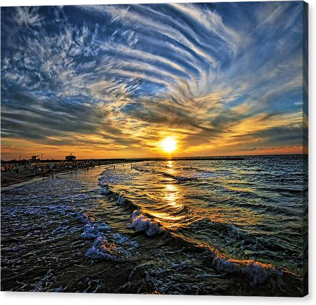 Limited Time Promotion: Hypnotic Sunset At Israel Stretched Canvas Print