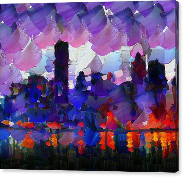 Limited Time Promotion:  City Limits - New York Skyline - Painting Stretched Canvas Print