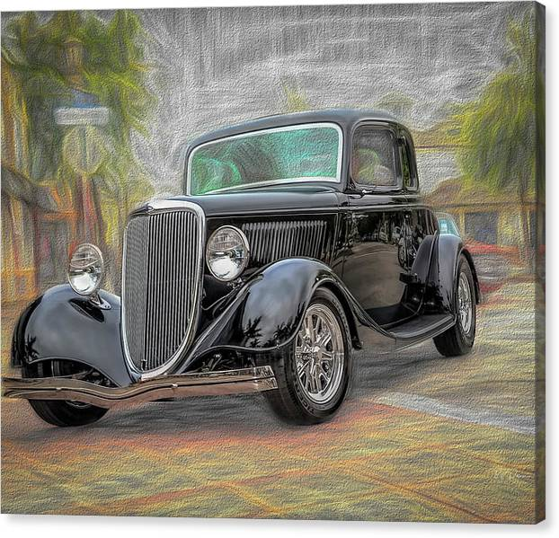 Limited Time Promotion: Black Hot Rod Stretched Canvas Print
