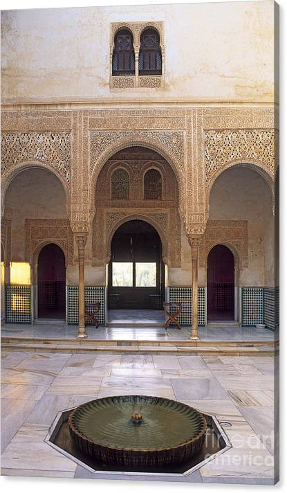 Limited Time Promotion: Alhambra Palace Patio Del Cuarto Dorado Stretched Canvas Print