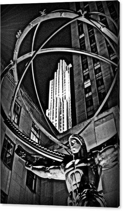 Limited Time Promotion: New York City Rockefeller Center Atlas  Stretched Canvas Print