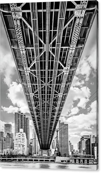 Limited Time Promotion: Underneath The Queensboro Bridge Stretched Canvas Print by Susan Candelario