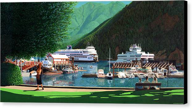 Landscape Canvas Print featuring the painting Reflection And Meditation Horseshoe Bay by Neil Woodward