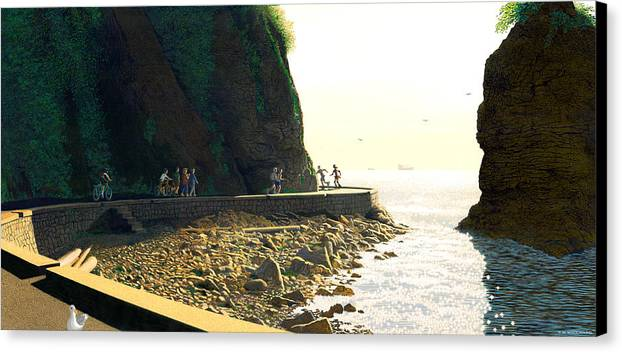 Landscape Canvas Print featuring the painting On The Seawall Stanley Park by Neil Woodward