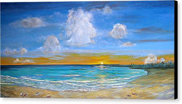 Seascape Canvas Print featuring the painting Bay Of Tranquility by Jeannette Ulrich