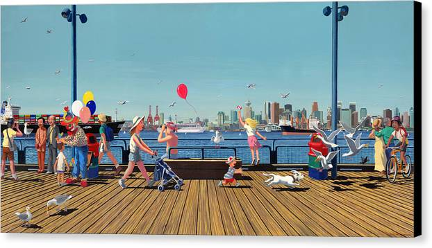 People Canvas Print featuring the painting Sunday Morning Lonsdale Quay by Neil Woodward