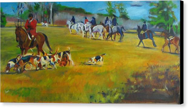 Fox Hunt Canvas Print featuring the painting Fox Hunt by Kaytee Esser
