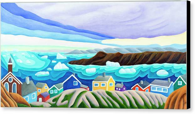 Arctic Landscape. Greenland Canvas Print featuring the painting 69 Degrees 13 Minutes North by Lynn Soehner