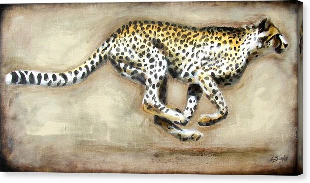 Running Cheetah Canvas Print featuring the painting Chase by Leigh Banks
