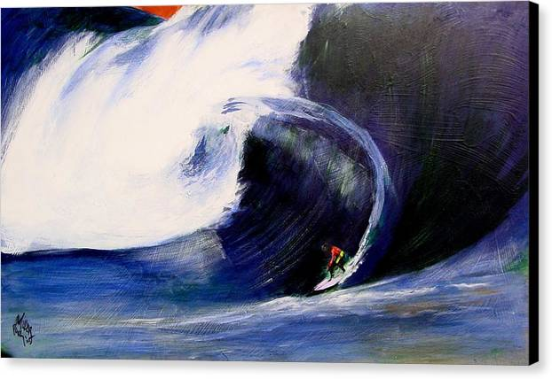Surf Canvas Print featuring the painting Big Tunnel Dharma by Paul Miller