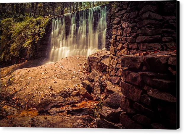 Antique Canvas Print featuring the photograph Grist Mill Water Fall by Honey Bunch Lyn Photographs