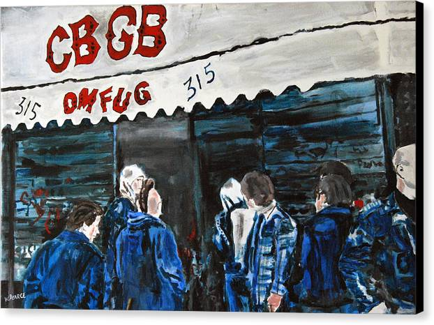 New York City Paintings Canvas Print featuring the painting Cbgb's by Wayne Pearce