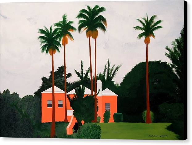 Island Houses Canvas Print featuring the painting Albouys Point Bermuda by Caleb Bynum