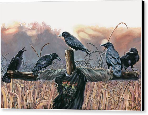 Crows Canvas Print featuring the painting Black Diamond by Todd Trainer