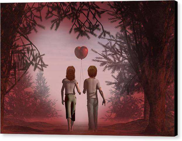 Balloons Canvas Print featuring the digital art Puppy Love by Carol and Mike Werner