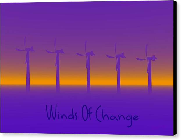 Windmills Canvas Print featuring the digital art Winds Of Change by Robert Orinski