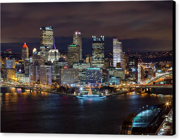 Light Up Night Pittsburgh 3 Canvas Print Canvas Art By