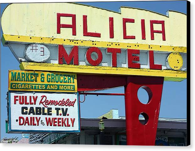 Alicia Motel Canvas Print featuring the photograph Alicia Motel Las Vegas by Bill Buth