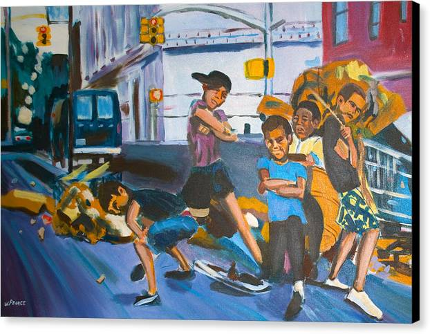 New York City Paintings Canvas Print featuring the painting Playground by Wayne Pearce