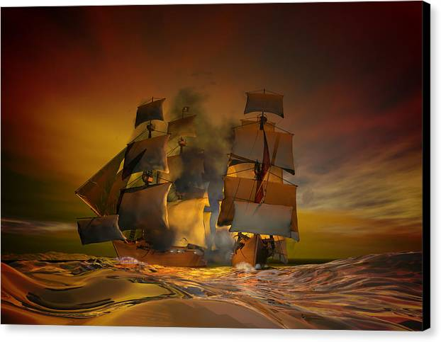 Sea Canvas Print featuring the digital art Skirmish by Carol and Mike Werner