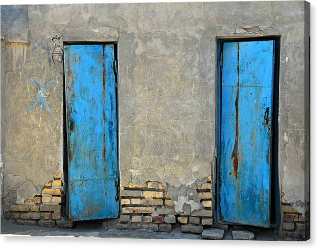 Bukahara Canvas Print featuring the photograph Two Blue Doors  Bukhara by Joseph Cosby