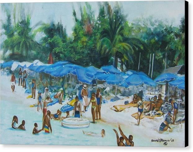 At The Beach Canvas Print featuring the painting Intimacy On Vacation by Howard Stroman