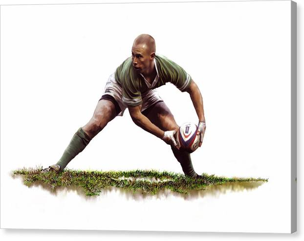 Rugby Canvas Print featuring the painting Peter Stringer by James Robinson