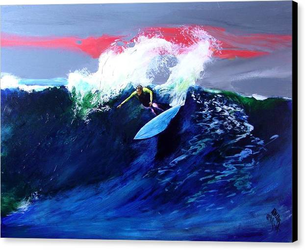 Surf Canvas Print featuring the painting Winter Sunset Off Swamis Encinitas by Paul Miller