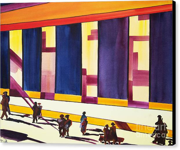 Figures Canvas Print featuring the painting Morning Commute Cle by JoAnn DePolo