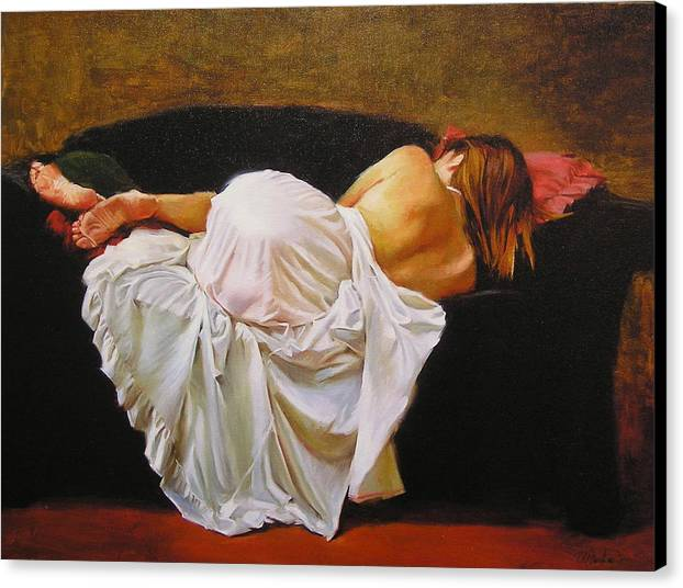 Reclining Figure Canvas Print featuring the painting Gowned by Ron W McDowell