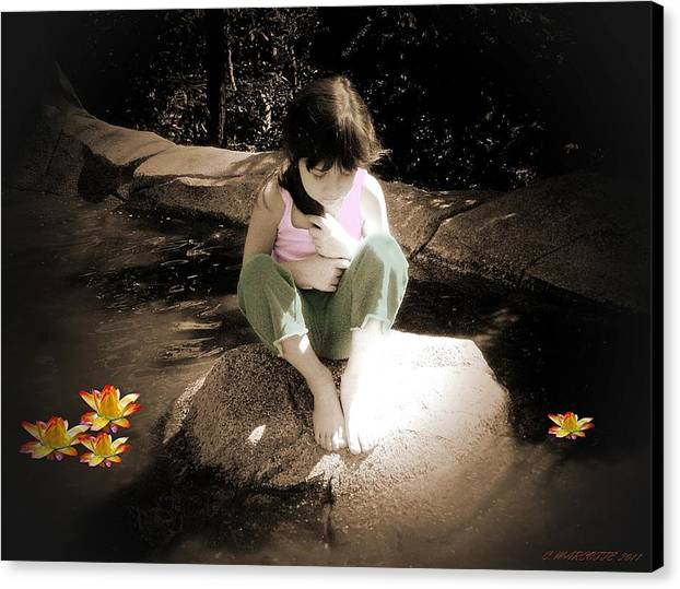 Children Canvas Print featuring the photograph Thoughts by Cindy Marcotte