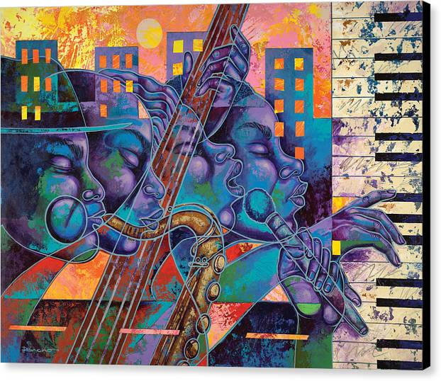 Figurative Canvas Print featuring the painting Street Songs by Larry Poncho Brown