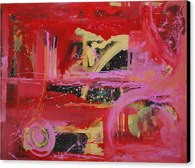 Abstract Red Canvas Print featuring the painting Unexpected Movr 2 by Vonitya Anand