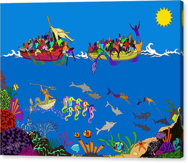 Haiti Canvas Print featuring the painting Agwe by Dimitri Beaulieu