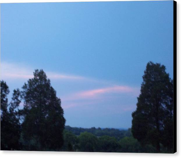 Landscape Canvas Print featuring the print A Perfect Days End by Beverly Baxter