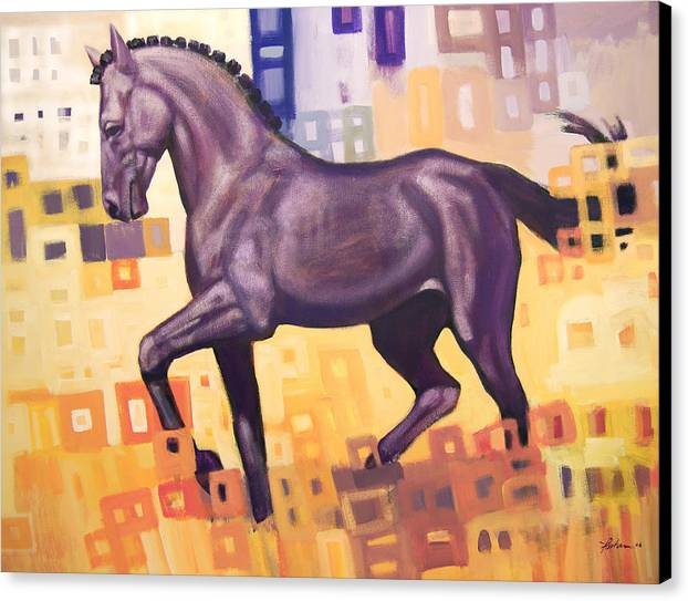 Horse Canvas Print featuring the painting Black Horse by Farhan Abouassali