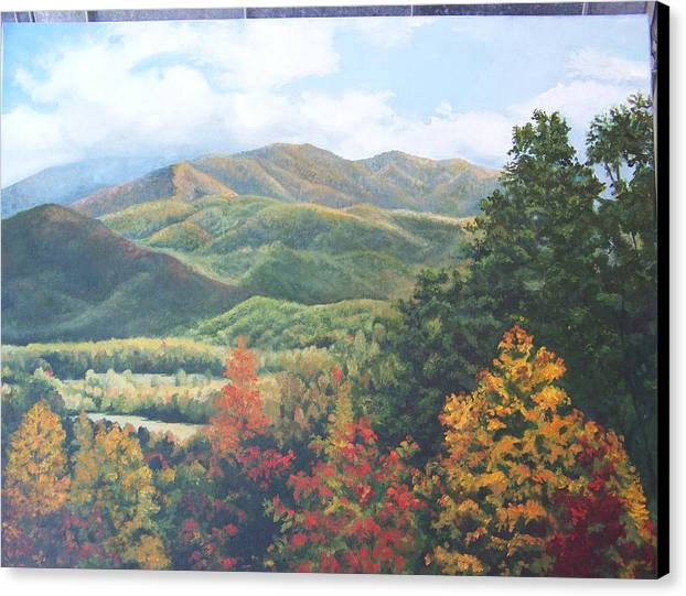 Fall Landscape Canvas Print featuring the painting Colors On Parkway by Audrie Sumner
