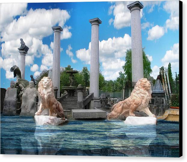 Lion Canvas Print featuring the digital art Lion Gate 007 by The Hybryds