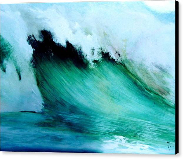 Surf Canvas Print featuring the painting Slaughterhouse Beach Maui by Paul Miller