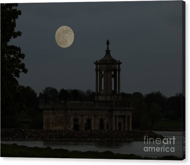 Church Canvas Print featuring the photograph Normanton Church Moonlight by Steev Stamford