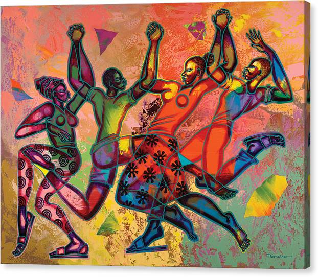 Figurative Canvas Print featuring the painting Celebrate Freedom by Larry Poncho Brown