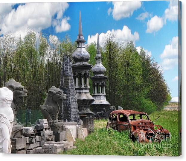 Dragon Canvas Print featuring the digital art The Old Car At The Dragon Gate by The Hybryds