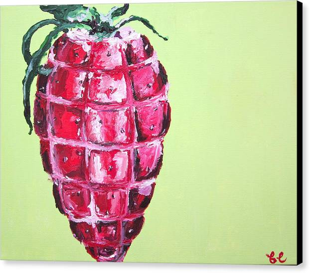 Fruit Canvas Print featuring the painting Strawberry Grenade by Britta Loucas