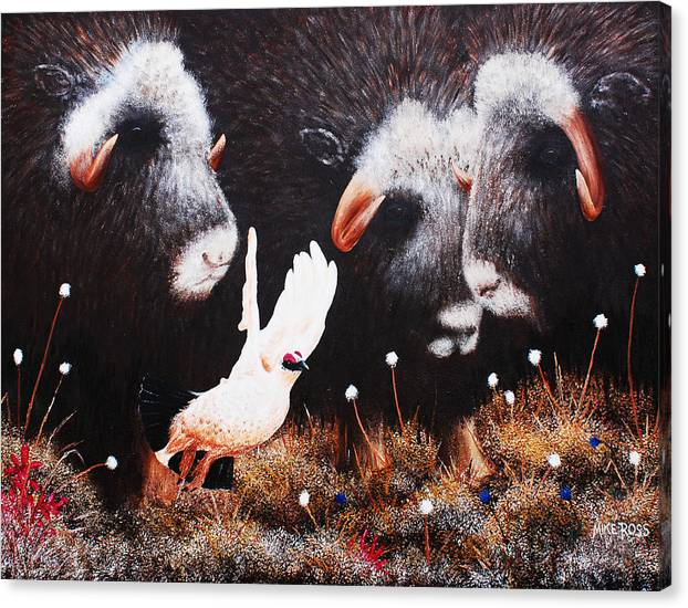 Wildlife Canvas Print featuring the painting Had Enough Of You Guys by Mike Ross