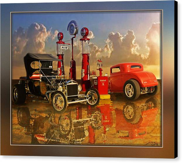 Street Rods Canvas Print featuring the painting 2at Pumps by John Breen