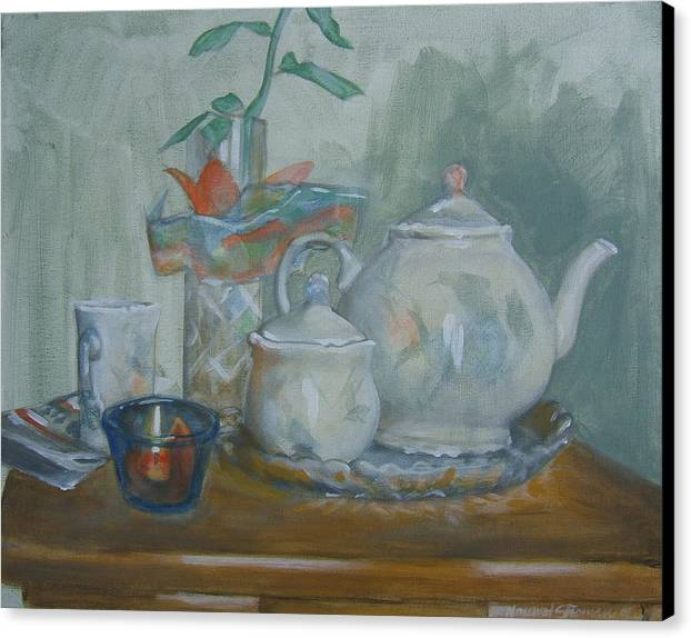Still Life Canvas Print featuring the painting Peaceful Morning by Howard Stroman