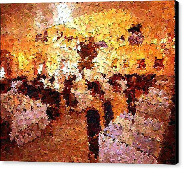 Abstract Canvas Print featuring the painting Shoppers In The Gallery by Don Phillips