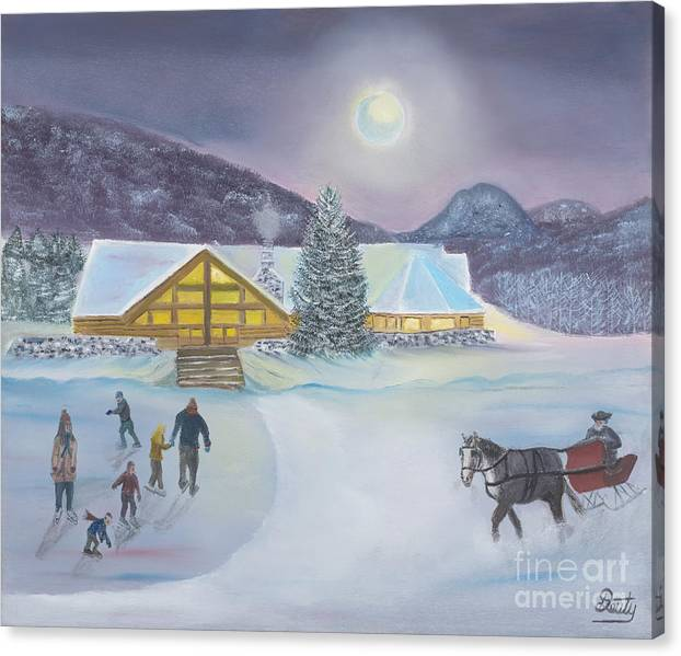 Evergreen Lakehouse Canvas Print featuring the painting Winter Evening At Evergreen Lakehouse by Scott Deuty