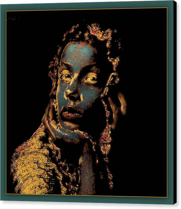 Portrait Canvas Print featuring the mixed media Listening To The Silence by Freddy Kirsheh