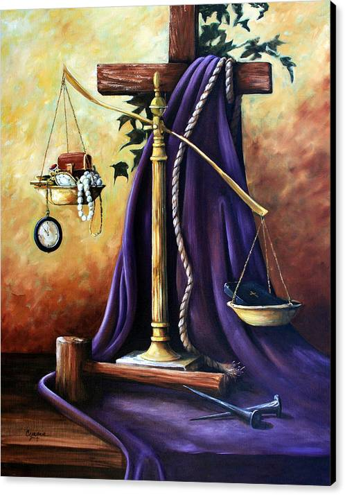 Oil Painting Canvas Print featuring the painting The Purple Robe by Cynara Shelton